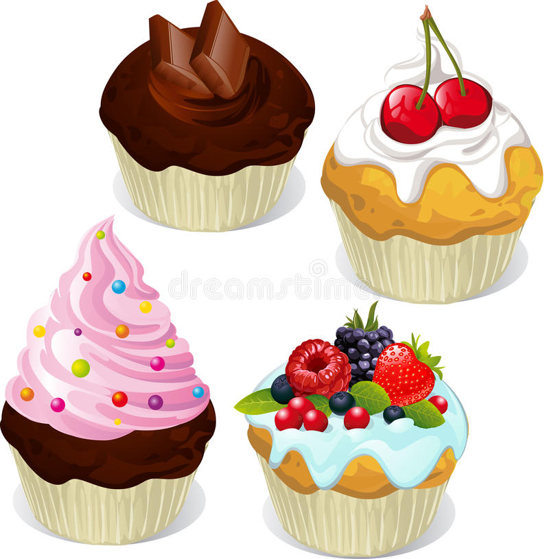 Cupcakes and muffins. Different flavors and colors on white background royalty free illustration