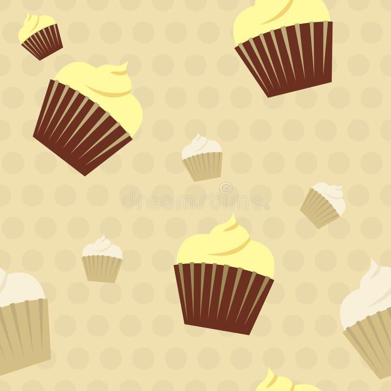 Free Cupcakes On A Polkadot Background Seamless Pattern Stock Photo - 37945350