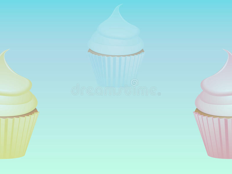 Cupcakes over light blue background royalty free illustration