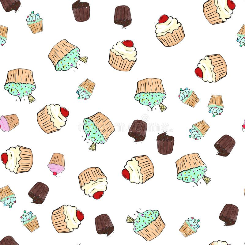 Cupcakes pattern illustration. Seamless print with pastry set. Vector bakery background.Hand draw style vector illustration
