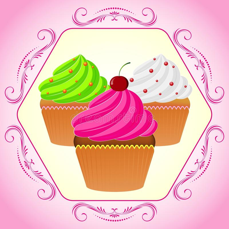 Cupcakes in pink frame. Vector illustration. Bright Cupcakes Set in fancy frame stock illustration