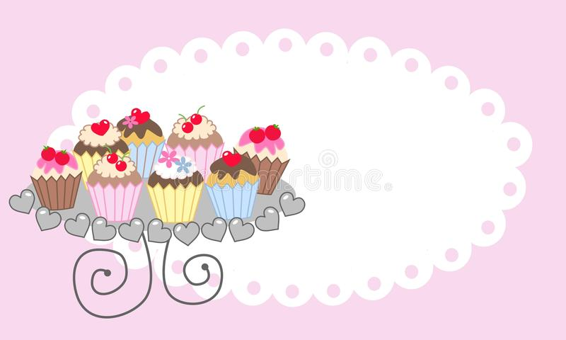 Cupcakes on a plate. Happy birthday celebration or invitation card vector illustration
