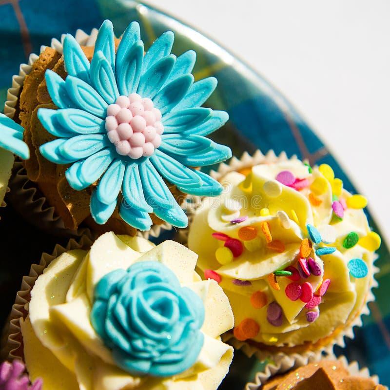 Cupcakes on a plate stock photos