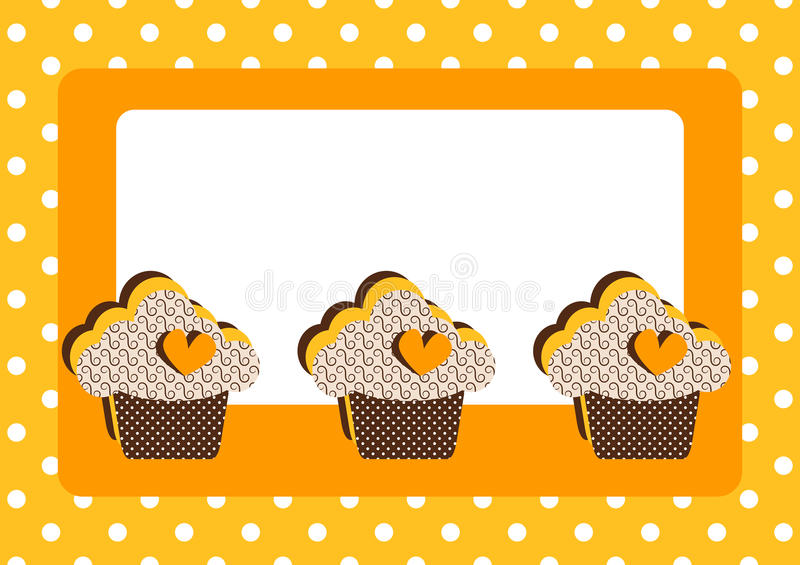 Cupcakes Polka Dot Border Frame Card. Yellow invitation card with cupcakes, hearts and polka dots. Border frame with space to write message stock illustration