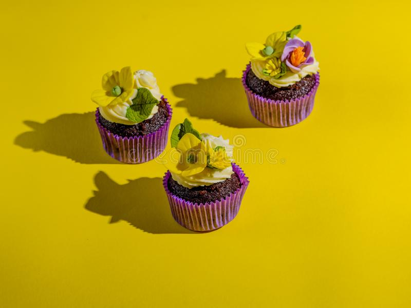 Cupcakes in purple wrap on solid yellow background with strong shadow. Pop art. Trendy funky minimalist style. Food fashion poster. Cupcake in purple wrap on stock photo