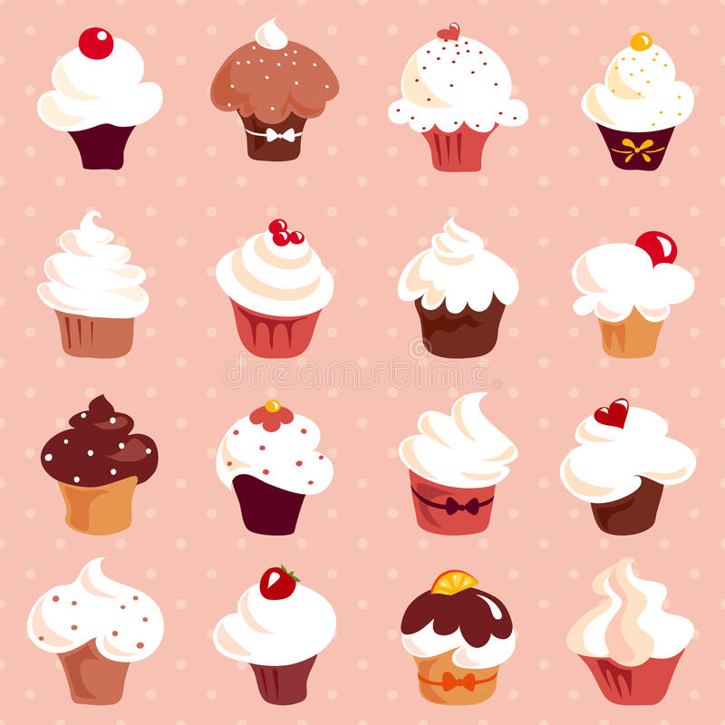 Cupcakes - Seamless Background Stock Photo