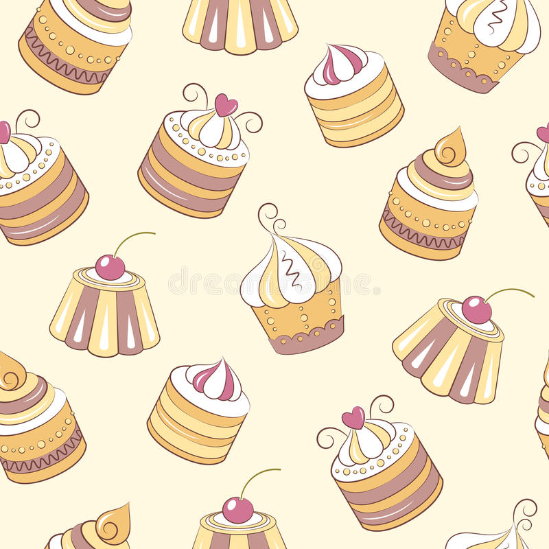 Cupcakes seamless pattern. The pattern can be repeated or tiled without any visible seams stock illustration