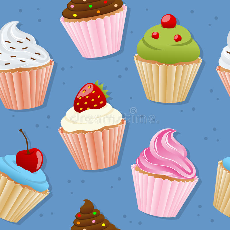 Cupcakes Seamless Pattern. A seamless pattern with colorful sweet cupcakes on blue background. Useful also as design element for texture, pattern or gift stock illustration