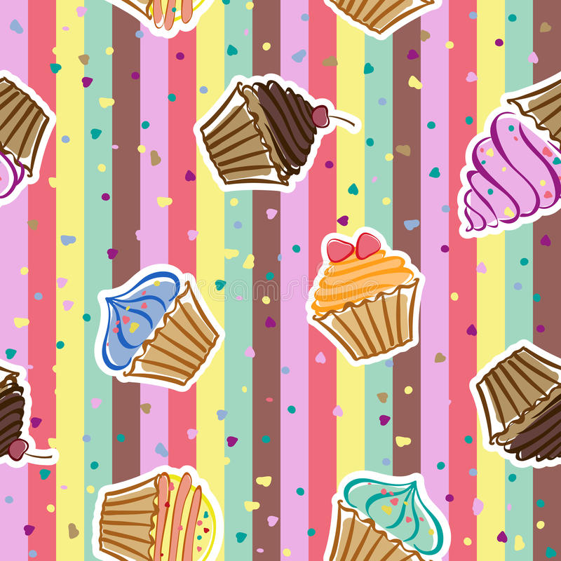 Cupcakes. Seamless pattern with cupcakes in the vector vector illustration