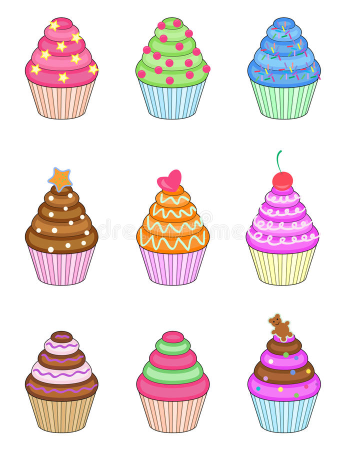 Cupcakes set. Set of nine sweet cupcakes isolated on white royalty free illustration