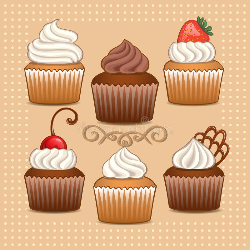 Cupcakes. Set of cupcakes with berries and chocolate vector illustration