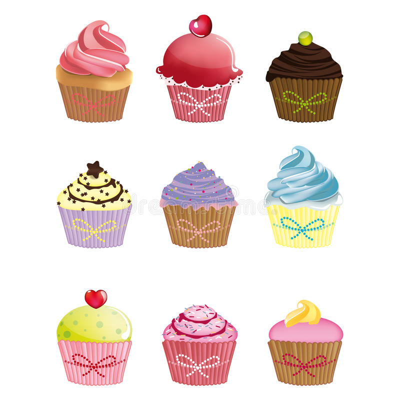 Cupcakes. Set of cute cartoon cupcakes stock illustration