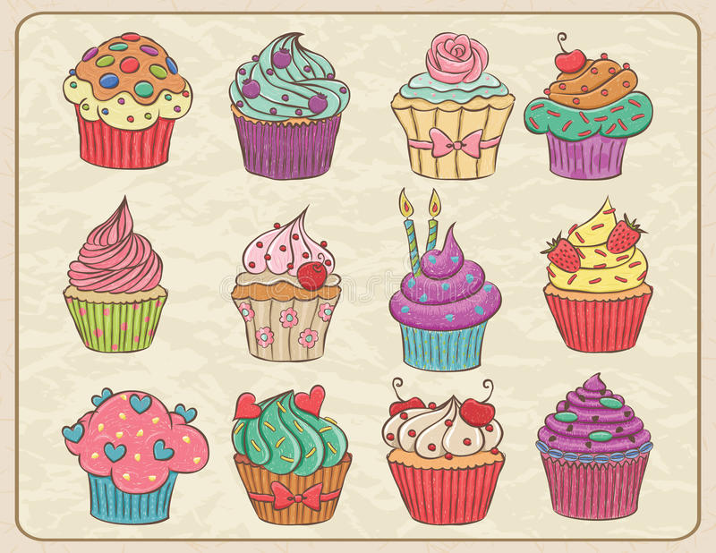 Cupcakes Set. Hand drawn sketchy set of cupcakes on a wrinkled paper vector illustration