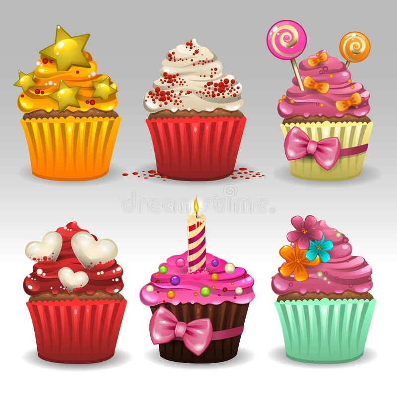 Cupcakes set. Illustration of cupcakes set icons royalty free illustration