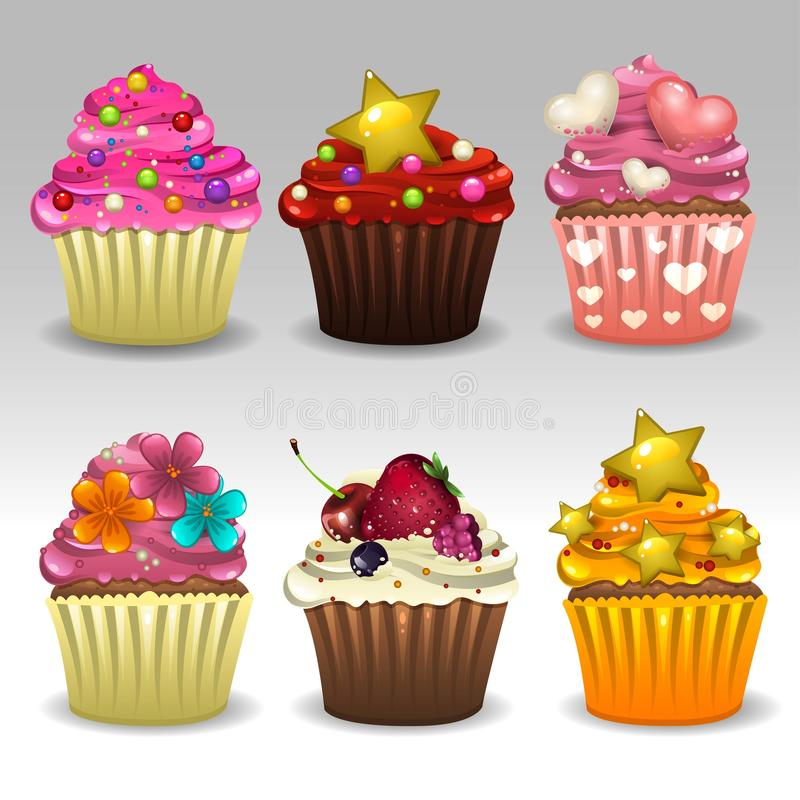 Cupcakes set 3. Illustration of cupcakes set icons stock illustration
