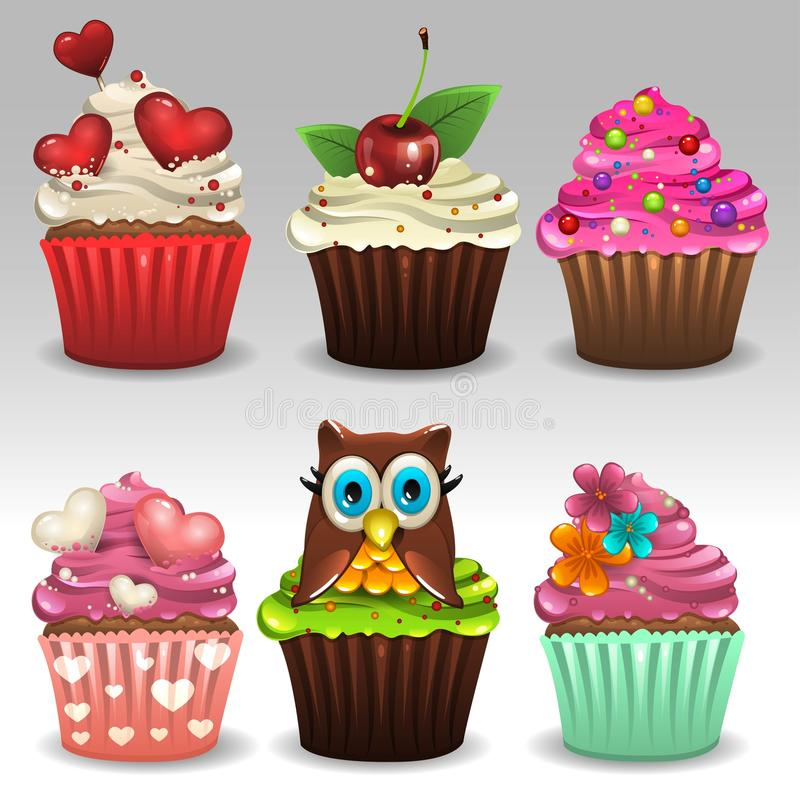 Cupcakes set 2. Illustration of cupcakes set icons vector illustration