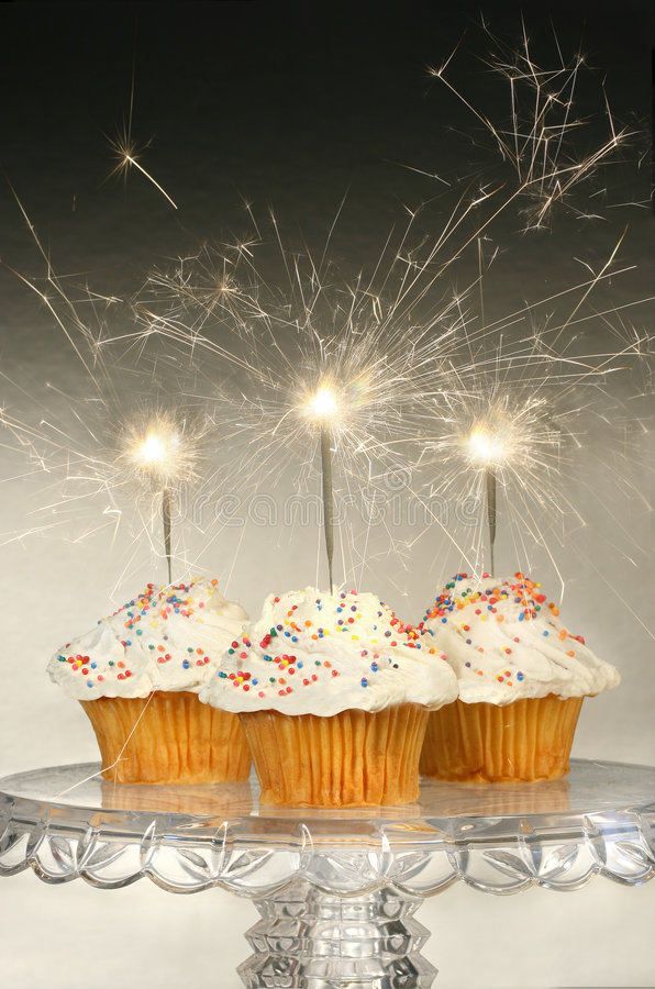 Cupcakes with sparklers stock photo Image of colorful 9039040