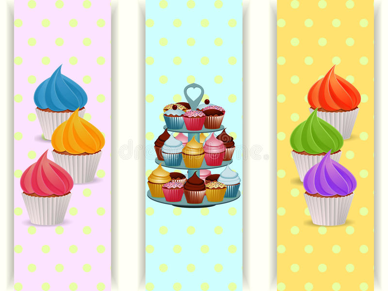Cupcakes stand and cupcakes banners royalty free illustration