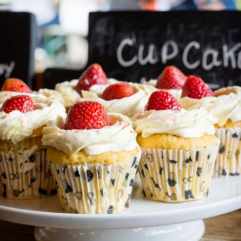 Strawberry cupcakes stock photos