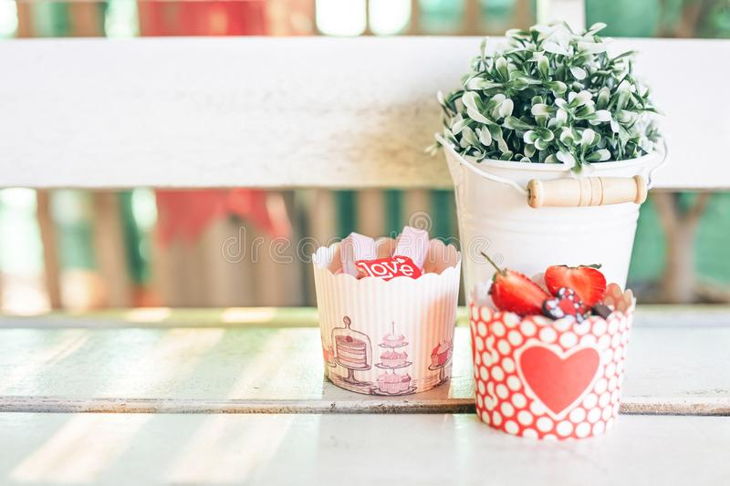 Cupcakes sweet bakery for love valentine`s day royalty free stock photo