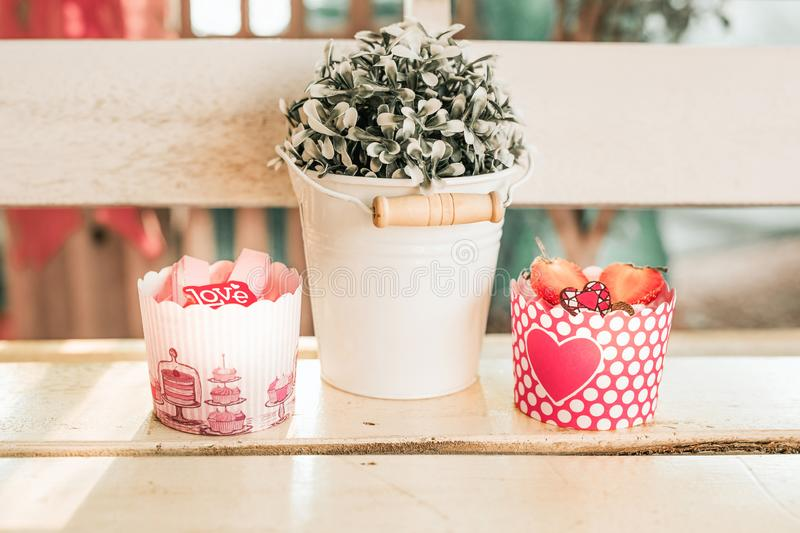 Cupcakes sweet bakery for love valentine`s day royalty free stock image
