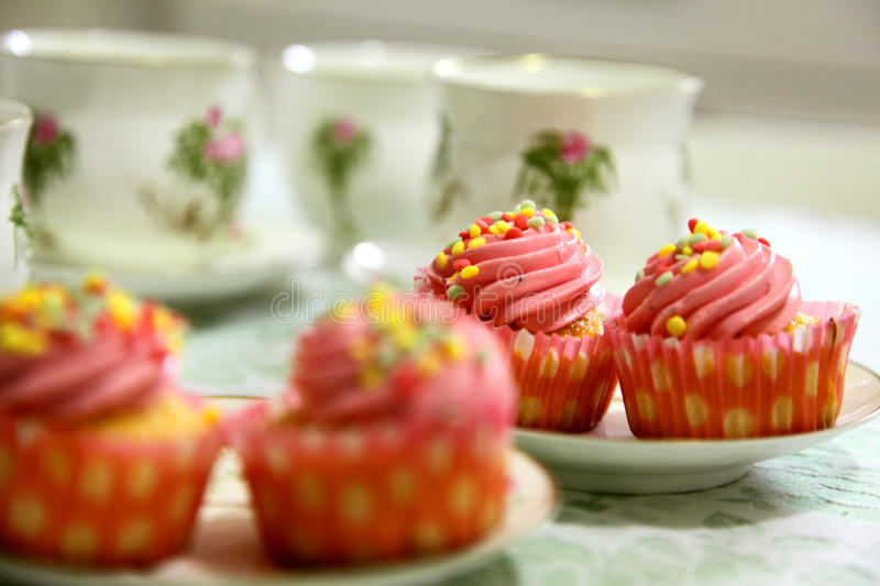 Download Cupcakes and tea stock image. Image of cream, icing, sweet - 23066077