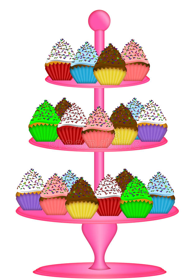 Cupcakes on Three Tier Cake Stand Illustration. Cupcakes on Pink Three Tier Cake Stand Illustration Isolated on White Background royalty free illustration