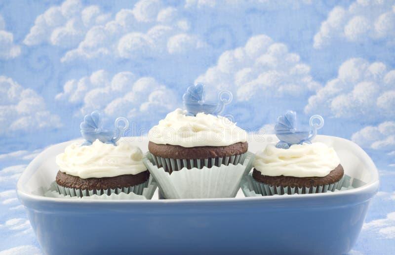 Cupcakes voor de Jongen van de Baby royalty-vrije stock foto's