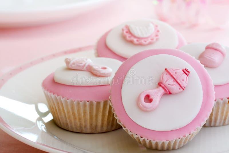 Cupcakes voor een babydouche royalty-vrije stock afbeeldingen