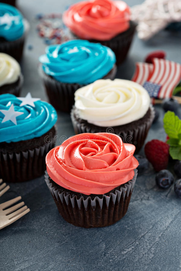 Cupcakes voor het Vierde van Juli stock foto