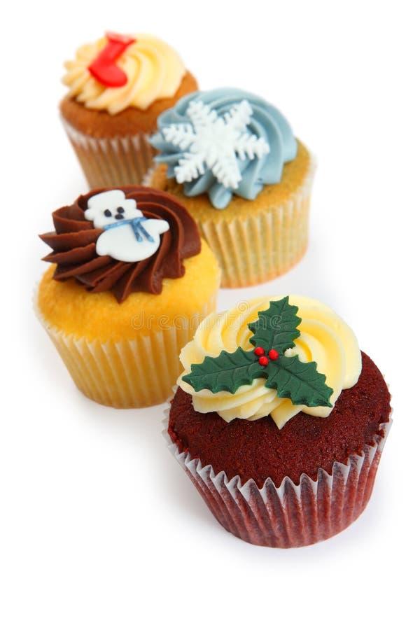 Cupcakes voor Kerstmis royalty-vrije stock fotografie