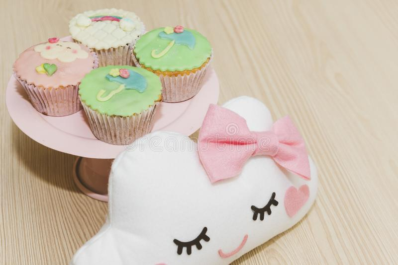 Cupe-cake decorated for children`s birthday. stock photography