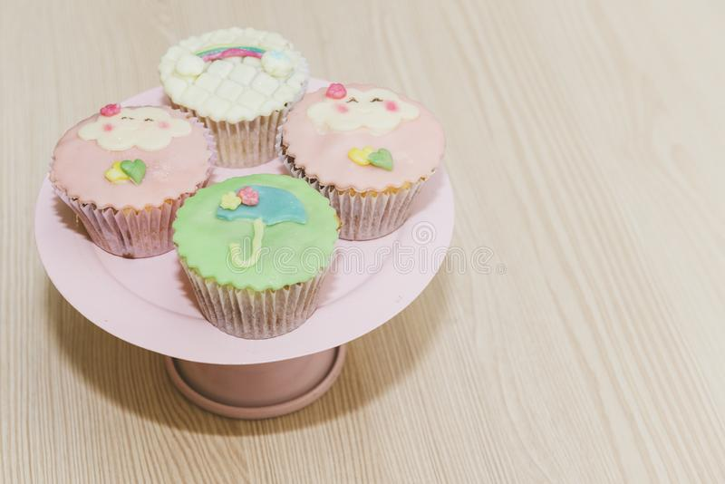 Cupe-cake decorated for children`s birthday. royalty free stock photography