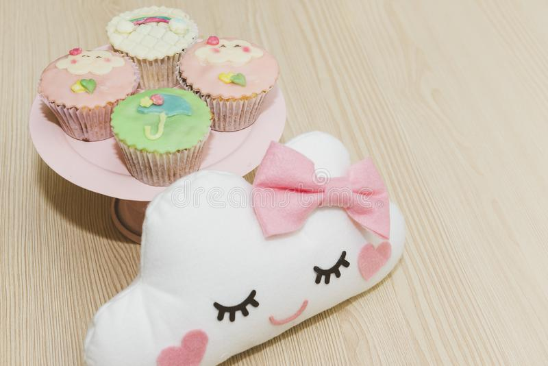 Cupe-cake decorated for children`s birthday. royalty free stock image