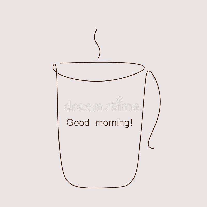 Cupen av kaffekortvektor för gott morgonkort royaltyfri illustrationer