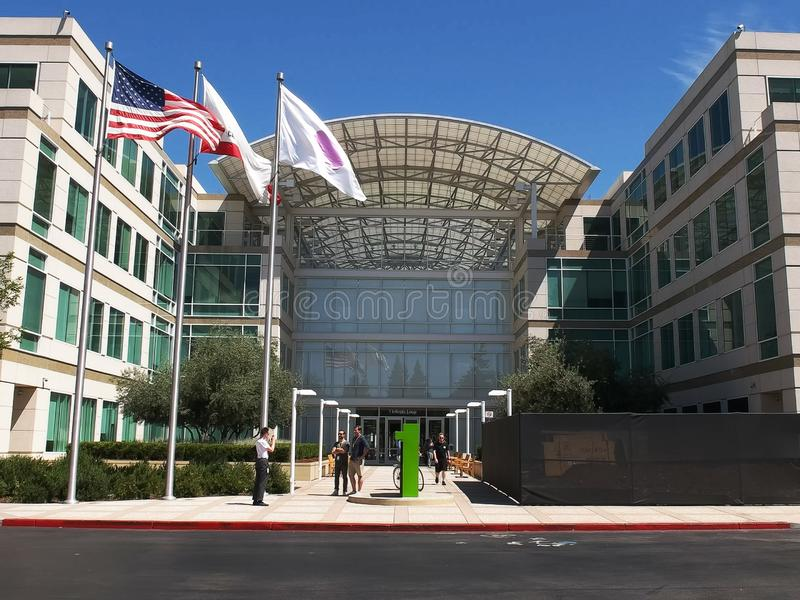 CUPERTINO, CA - AUGUST 28, 2015: close up view of apple inc headquarters in cupertino stock images