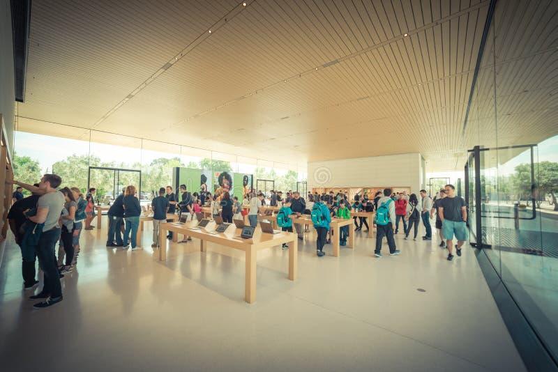 Apple merchandise retail store at Apple Park Visitor Center stock photos