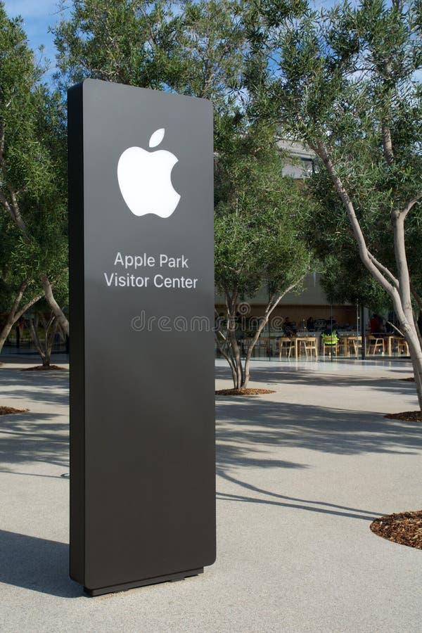 CUPERTINO, CALIFORNIA, FÖRENTA STATERNA - NOV 26, 2018: Apple-skylt för det nya Apple-huvudkontoret och Apple Park-besökaren royaltyfri bild