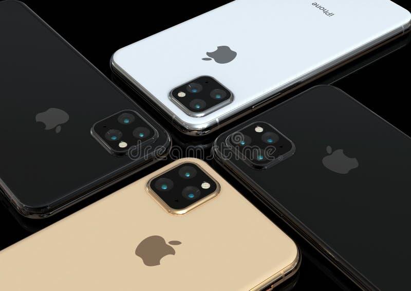 Apple iPhone Xs successor, 2019, leaked design simulation. Cupertino, California - May 23, 2019: Apple iPhone Xs successor 11 or XI rumored design simulation. 3D royalty free stock image