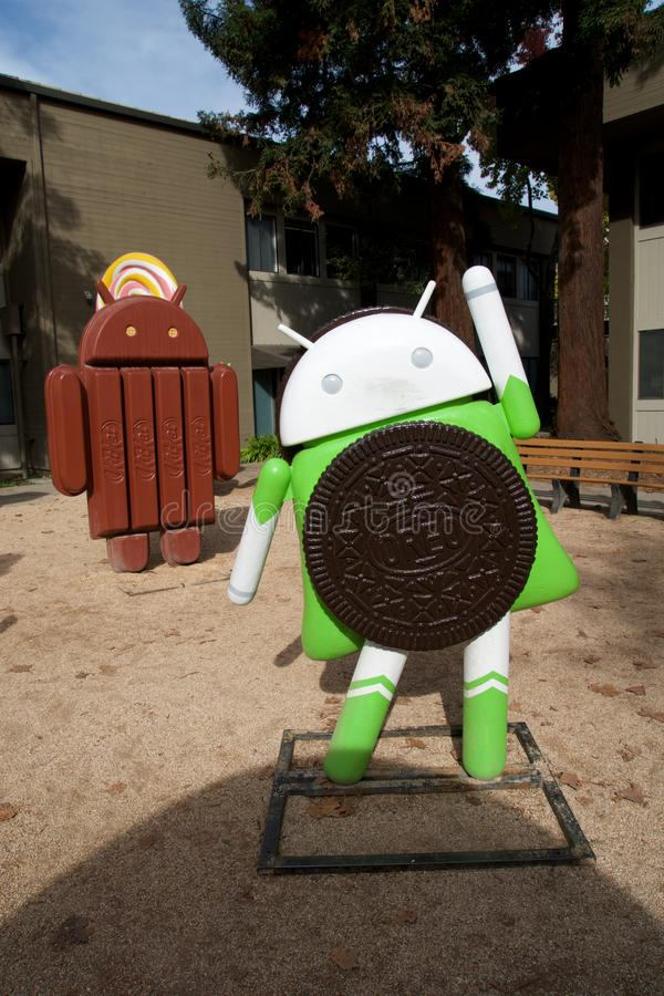 CUPERTINO, CALIFORNIA, UNITED STATES - NOV 26th, 2018: Android lawn statues with Android Oreo at Google Visitor Center royalty free stock photography