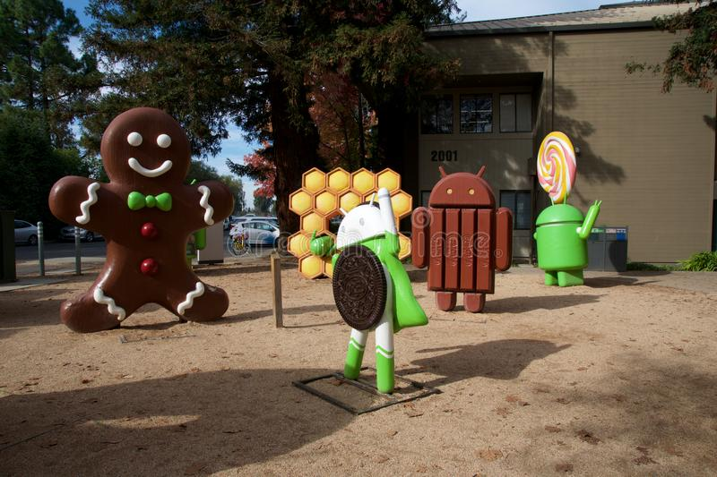 CUPERTINO, CALIFORNIA, UNITED STATES - NOV 26th, 2018: Android lawn statues at Google Visitor Center Beta. The Android royalty free stock images