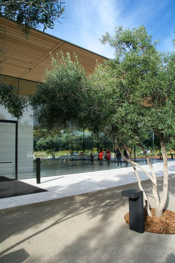 CUPERTINO, CALIFORNIA, UNITED STATES - NOV 26th, 2018: Apple Park Visitor Center seen from outside stock photo