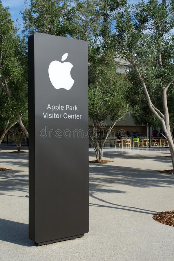 CUPERTINO, CALIFORNIA, UNITED STATES - NOV 26th, 2018: Apple sign of the new Apple Headquarters and Apple Park Visitor. Center in Tantau Avenue of Cupertino royalty free stock image