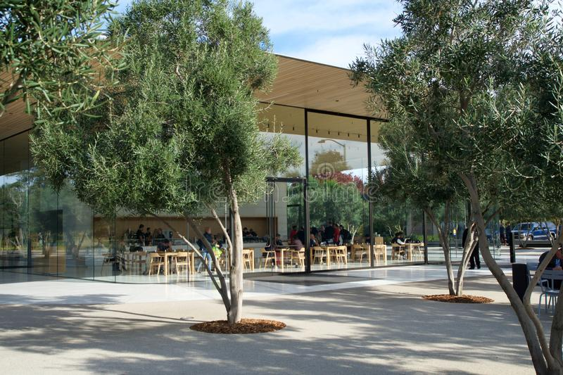 CUPERTINO, CALIFORNIA, UNITED STATES - NOV 26th, 2018: Exterior view of the new and modern Apple Park visitor center royalty free stock photo