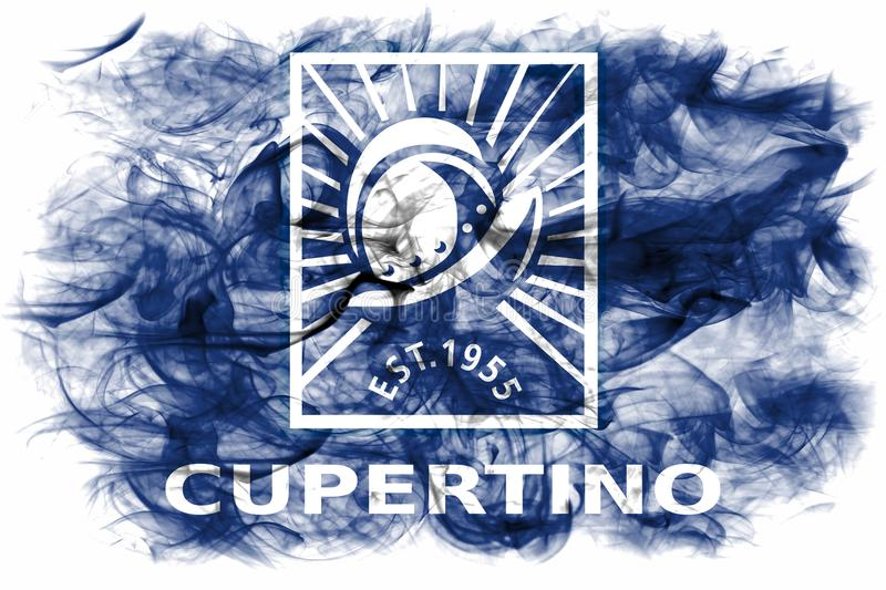 Cupertino city smoke flag, California State, United States Of Am. Erica stock photography