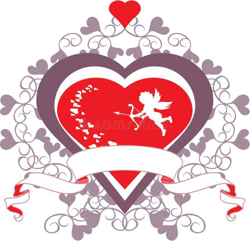 Cupid και καρδιά στοκ φωτογραφίες