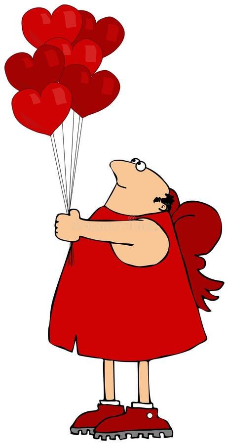 Cupid που κρατά μια δέσμη διαμορφωμένων των καρδιά μπαλονιών διανυσματική απεικόνιση