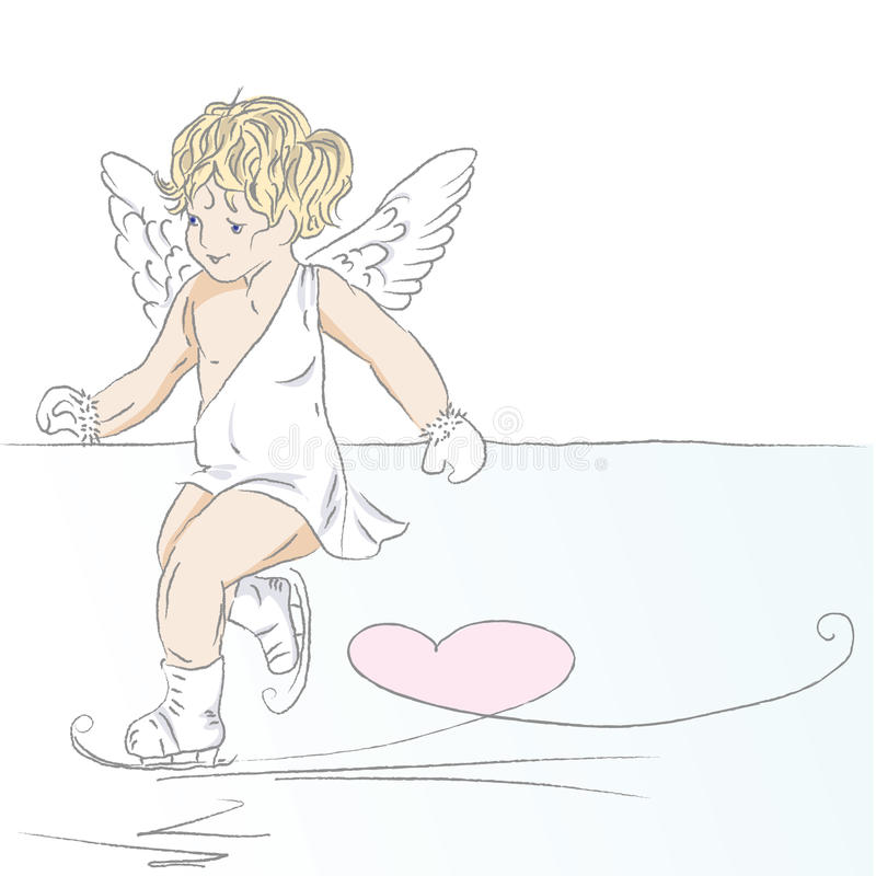 Download Cupid stock vector. Illustration of drawing, leaf, cute - 10619770