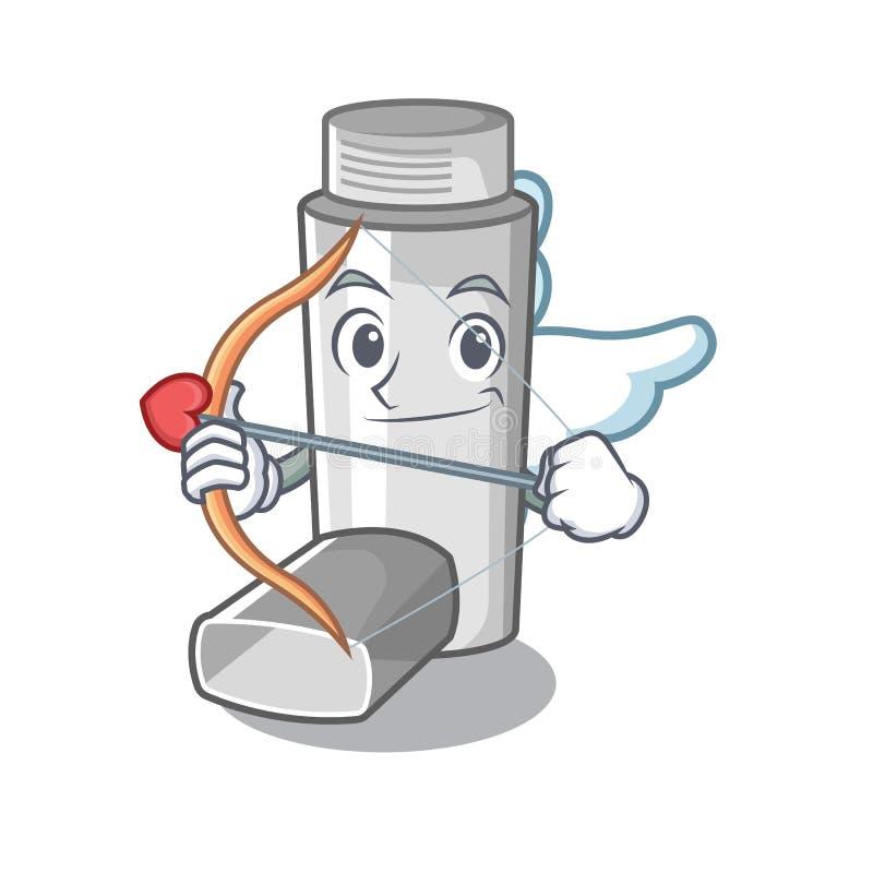 Cupid asthma inhaler in the cartoon shape. Vector illustration vector illustration