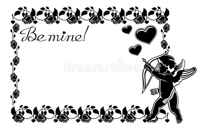 Cupid with bow hunting for hearts. Raster clip art. Cupid with bow hunting for hearts. Black and white frame with silhouettes of Cupid, roses and hearts. Design stock illustration